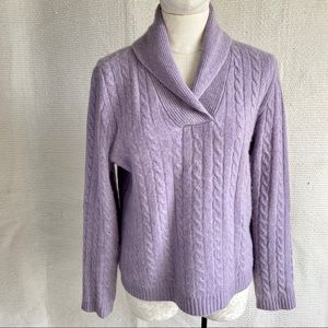 Lauren RL M/L 100% Cashmere Cable Pullover Sweater